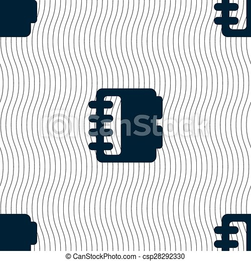 Notepad, calendar icon sign. Seamless pattern with geometric texture. Vector - csp28292330