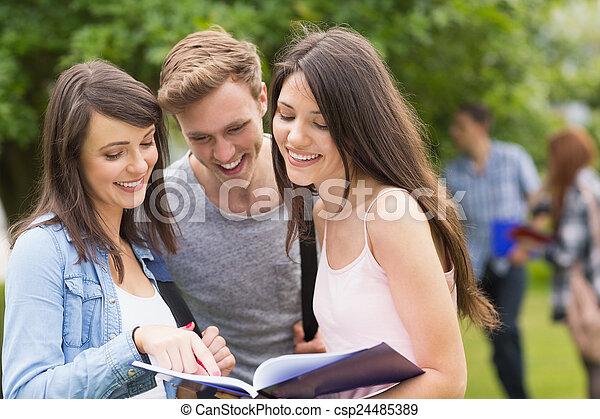 notepad, estudantes, feliz, leitura - csp24485389