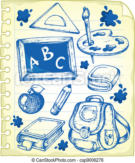 Notepad page with school drawings 1 - csp9006276