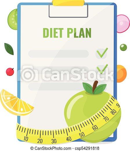 Notepad with diet plan - csp54291818