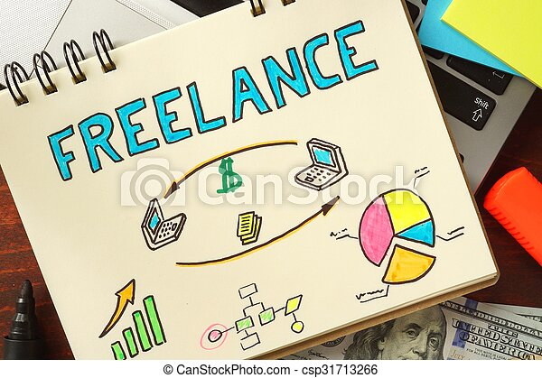 Notepad with freelance. - csp31713266