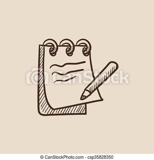 Notepad with pencil sketch icon csp35828350
