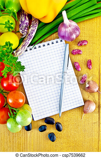 Notepad with vegetables - csp7539662