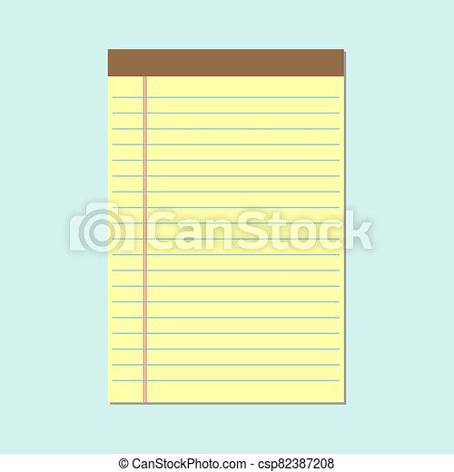 Notepad with yellow sheets icon. Vector illustration - csp82387208