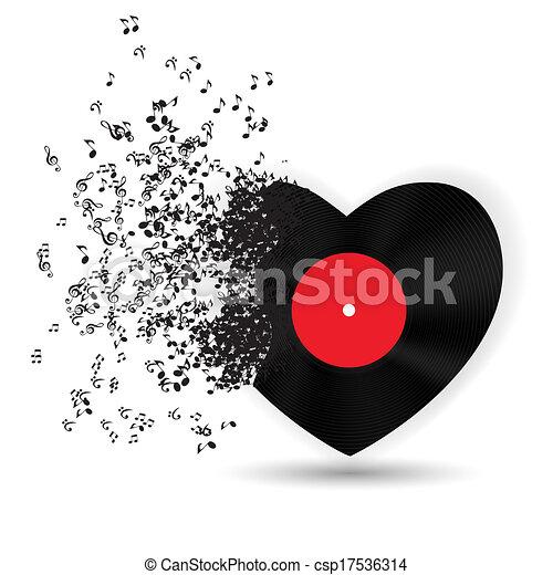 noterar., hjärta, valentinkort, illustration, vektor, musik, dag, kort, lycklig - csp17536314