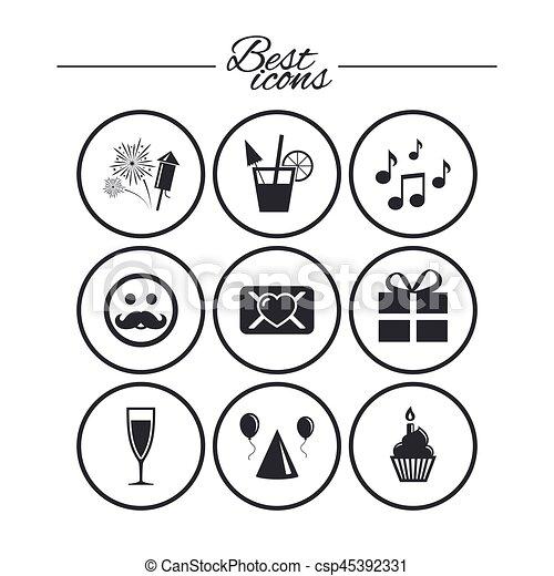 födelsedag musik Noterar., icons., födelsedag, musik, parti, firande. Vektor, boxas  födelsedag musik