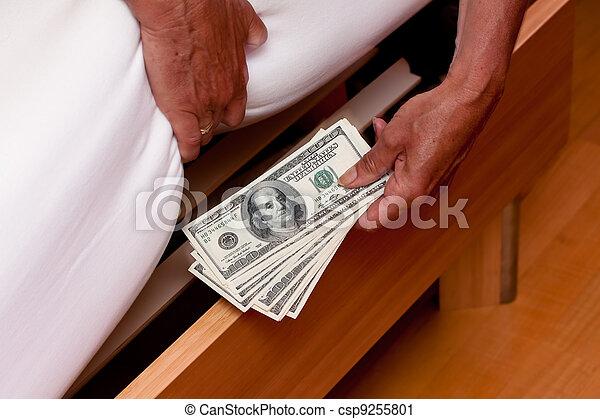 notes, dollar, lit, monnaie, sous, caché - csp9255801