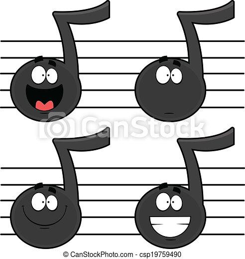 Notes ensemble musique dessin anim illustr ensemble - Note musique dessin ...