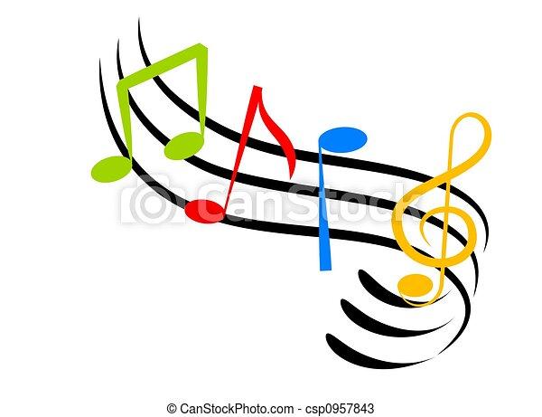 Notes musique fait art color notes illustration - Note musique dessin ...