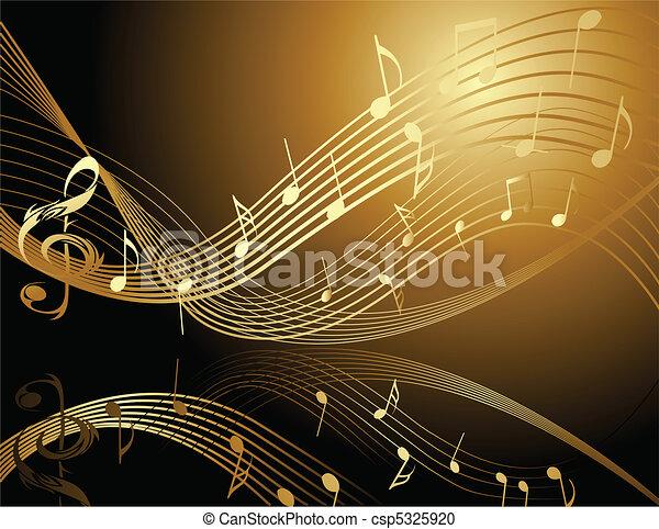 notes, musique, fond - csp5325920