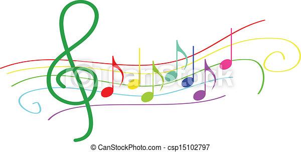 notes, portée, musical, coloré - csp15102797