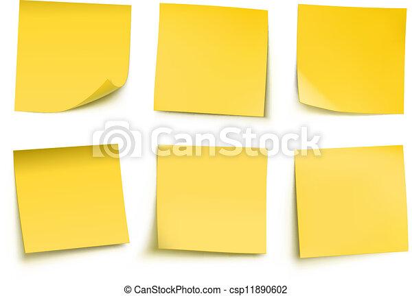 notes, poste, jaune, il - csp11890602