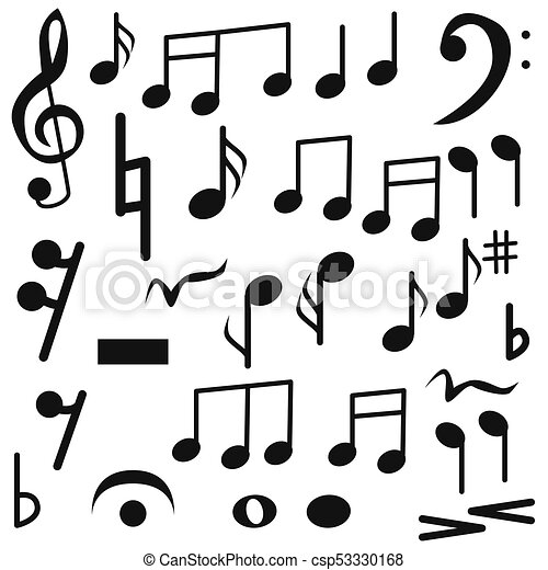 Notes Set Different Music Isolated On White Background For Your