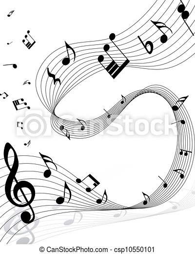 Vector musical notes staff background for design use for Note musicali dwg