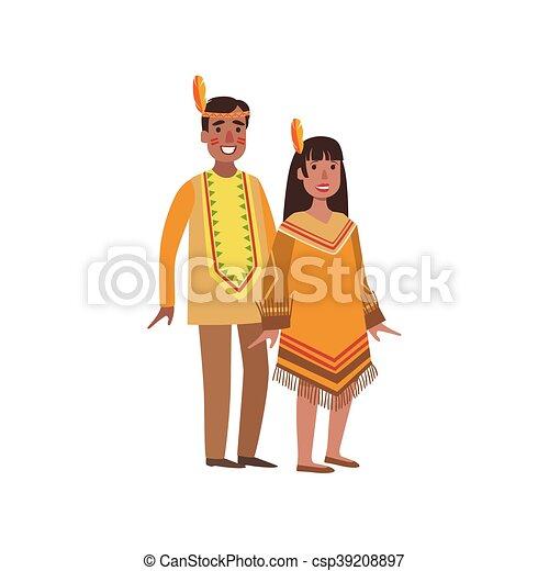 Nothern Couple Indiens Amérique National Vêtements
