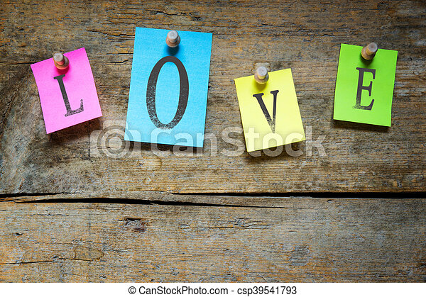 notice board with the word love - csp39541793