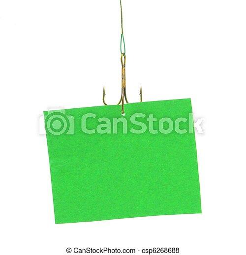 notice hanging on hook - csp6268688