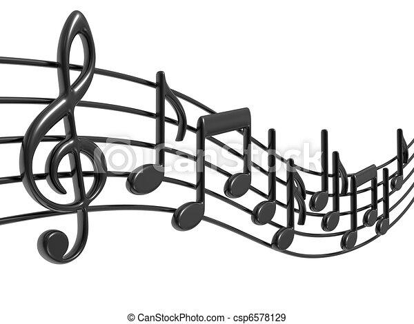 noticky, hudba, čini - csp6578129