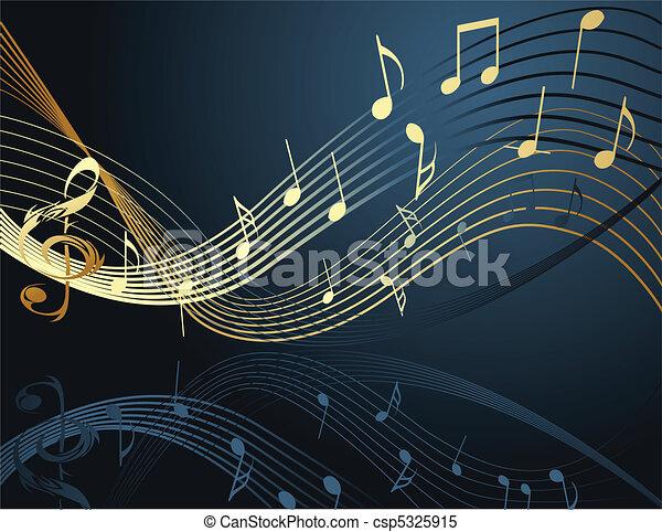 noticky, hudba, grafické pozadí - csp5325915