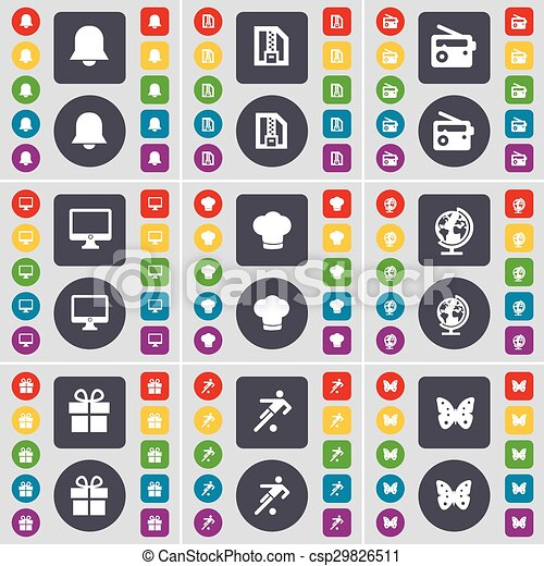 Notification, ZIP file, Radio, Monitor, Cooking hat, Globe, Gift, Football, Butterfly icon symbol. A large set of flat, colored buttons for your design. Vector - csp29826511