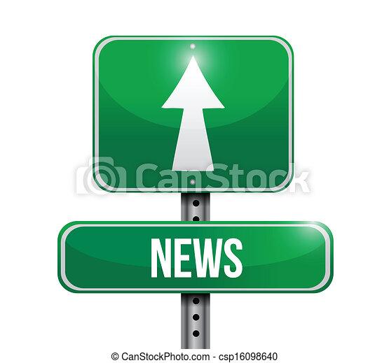 notizie, disegno, strada, illustrazione, segno - csp16098640