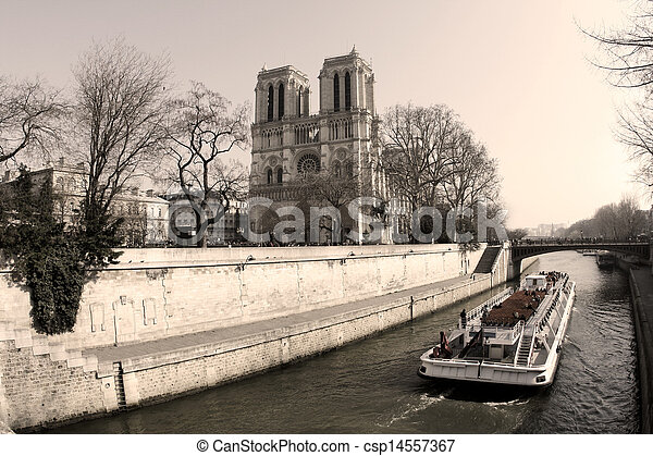 Notre Dame Cathedral In The Center Of Paris