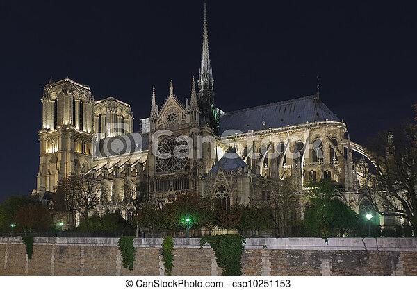 Notre dame of Paris at night - csp10251153