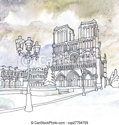 notre, de, paris, frankreich, zeichnung, dame - csp27794759