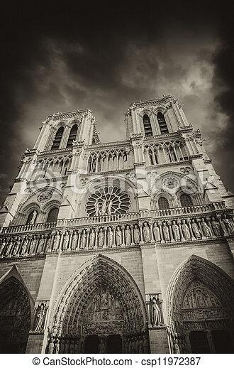 Notre Paris Dramatique Noir Cathédrale Blanc Vue Dame