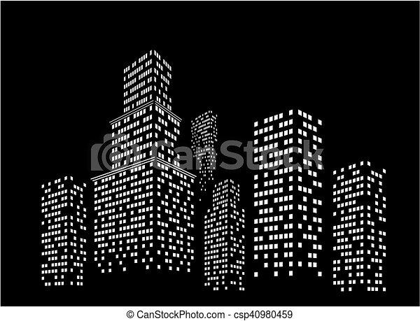 notte, cityscape. - csp40980459