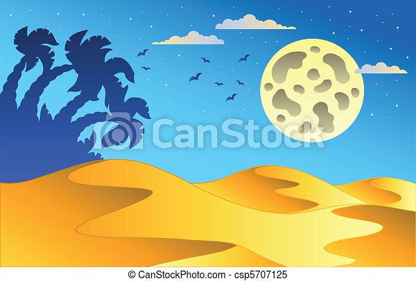 notte, disertare paesaggio, cartone animato - csp5707125