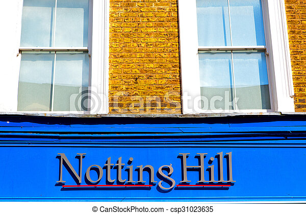 notting hill in suburban and antique wall - csp31023635