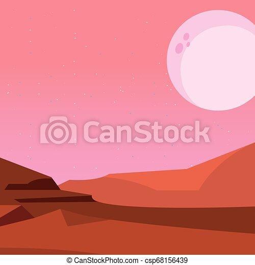 noturna, natural, paisagem deserto, lua - csp68156439