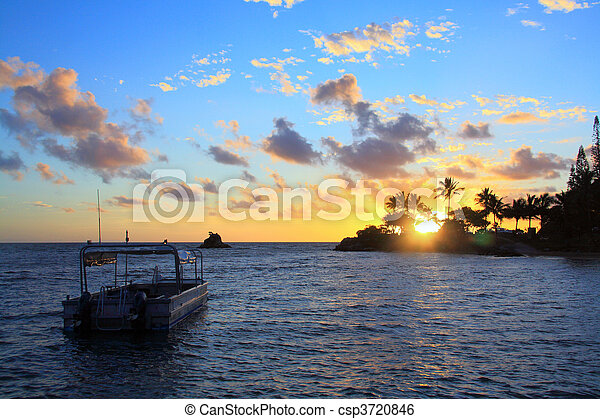 noume, caledonia, tramonto, barca, nuovo - csp3720846