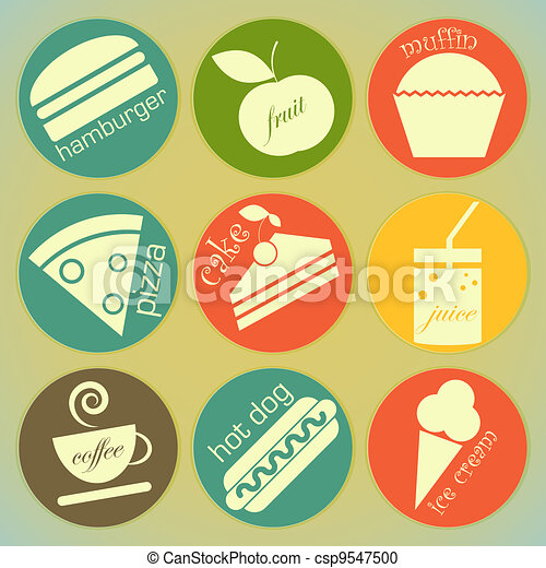 nourriture, étiquettes, ensemble, retro, rond - csp9547500