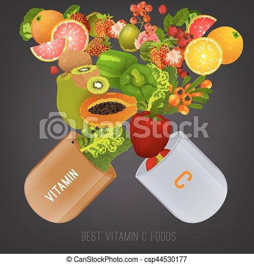 Nourriture, c, vitamine, image. Pill., couleurs, c, vecteur, gris ... 0adc5328ba9