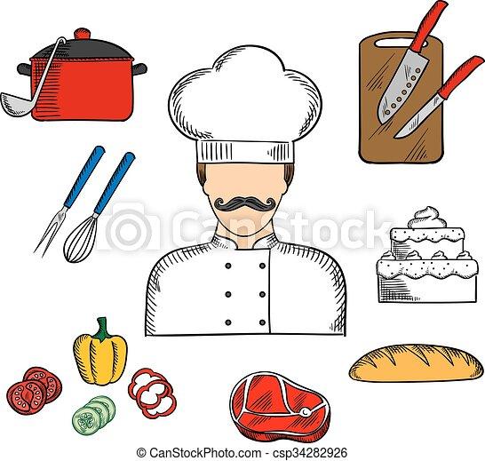 Nourriture Chef Cuistot Cuisinier Kitchenware Ou