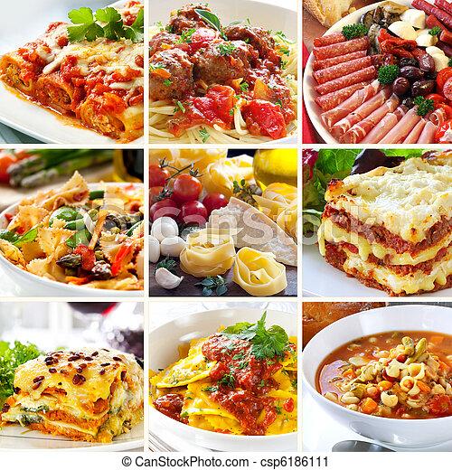 nourriture, collage, italien - csp6186111