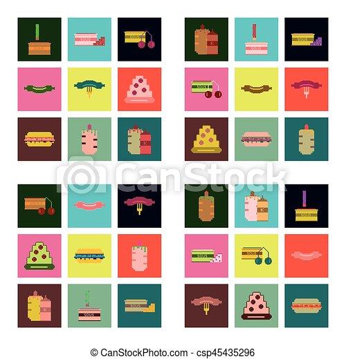 Nourriture Ensemble Pixel Jeûne Icônes