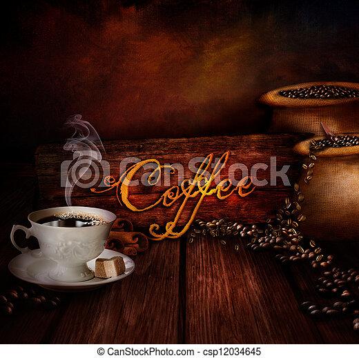 nourriture, entrepôt, café, -, conception - csp12034645