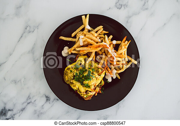 nourriture, fromage, frites, schnitzel, parmigiana, vegan, dairy-free, plant-based - csp88800547