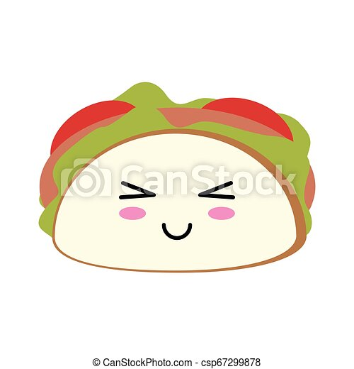 Nourriture Kawaii Tacon Mexicain Dessin Animé
