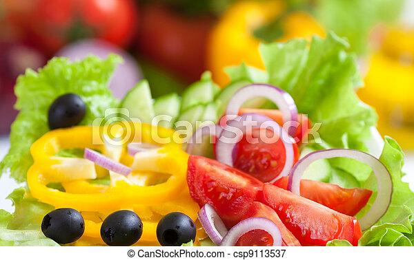 nourriture, légume, frais, salade, sain - csp9113537