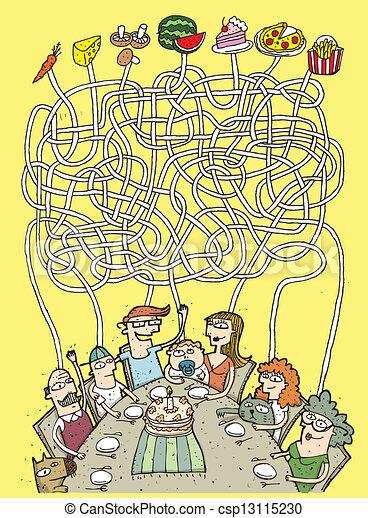 nourriture, labyrinthe, jeu, famille - csp13115230