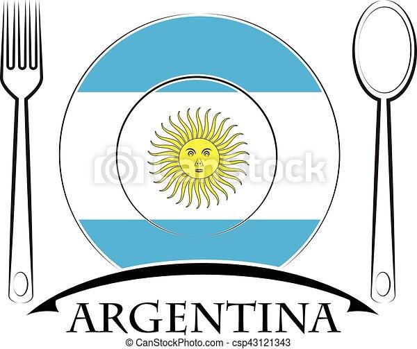 nourriture, logo, drapeau, fait, argentine - csp43121343