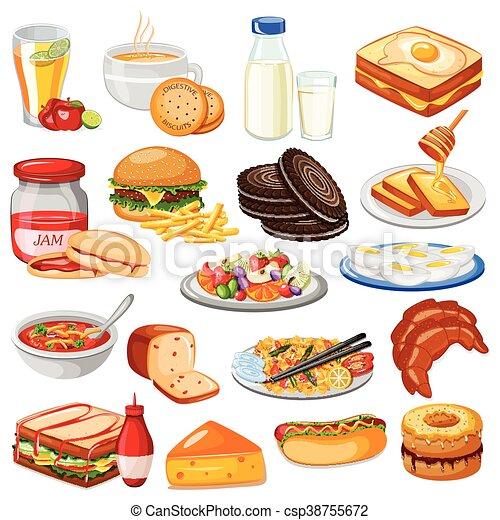 Connu Vecteurs illustration de nourriture, menu, petit déjeuner  EM42