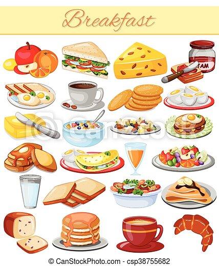 Souvent Vecteur de nourriture, menu, petit déjeuner, collection  OZ64