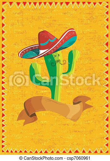 nourriture mexicaine, sur, fond, grunge, cactus - csp7060961