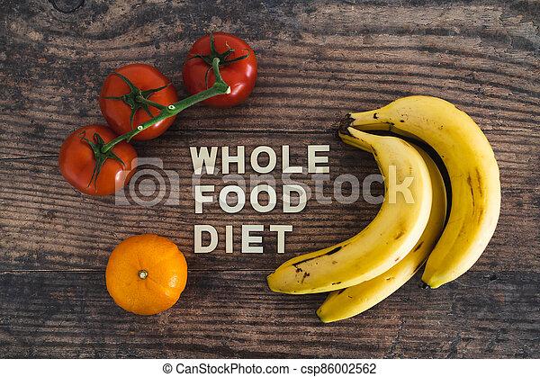 nourriture régime, bois, entier, frais, texte, produire, concept, table, entouré - csp86002562