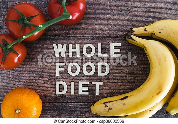 nourriture régime, bois, entier, frais, texte, produire, concept, table, entouré - csp86002566